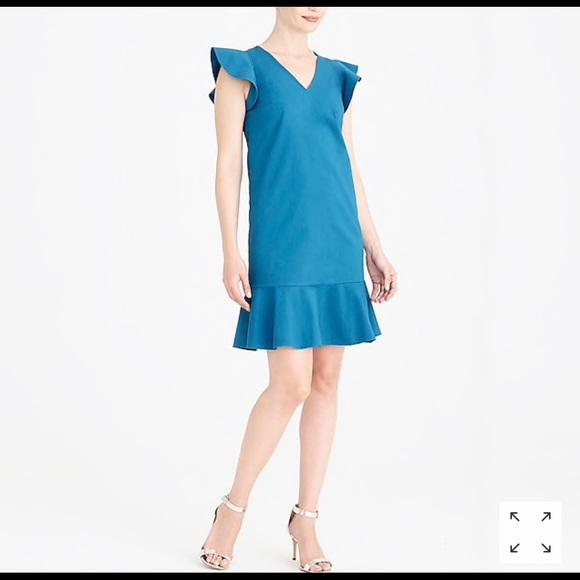 J CREW Azure Blue Ruffle Sleeve V Neck Tank Dress